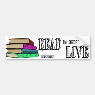 Autocollant De Voiture Lu afin de vivre pour des amoureux des livres