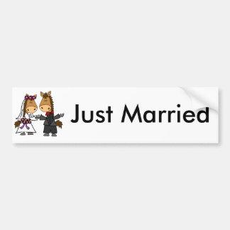 Autocollant De Voiture Mariage adorable de jeunes mariés de cheval