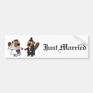 Autocollant De Voiture Mariage drôle de jeunes mariés de castor