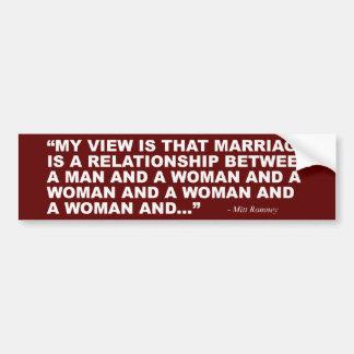 Autocollant De Voiture Mitt Romney sur le mariage homosexuel