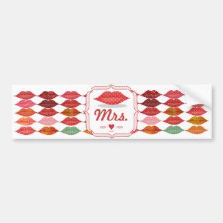 Autocollant De Voiture Mme Hipster Vintage Bride de lèvres de motif de