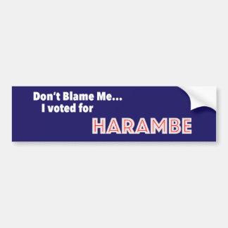 Autocollant De Voiture Ne me blâmez pas… J'ai voté pour Harambe