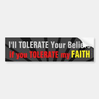 Autocollant De Voiture Ne soyez pas intolérant de mon chrétien de foi
