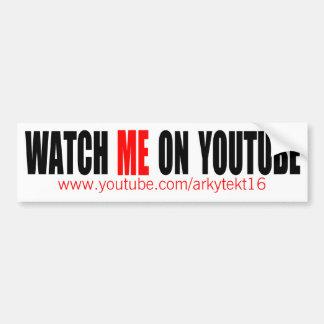 Autocollant De Voiture Observez-moi sur YouTube   modernes (foncé)