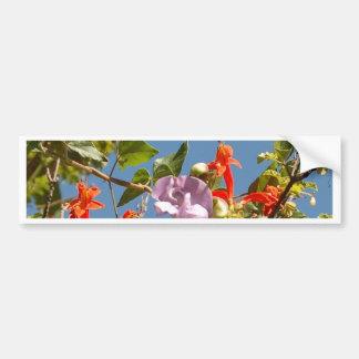 Autocollant De Voiture Orchidée pourpre d'arbre et fleurs oranges