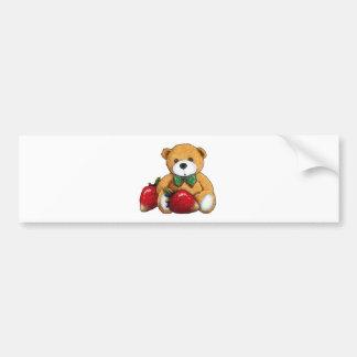 Autocollant De Voiture Ours de nounours avec des fraises, coloré original