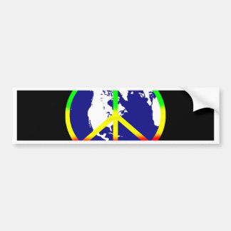Autocollant De Voiture Paix du monde sur le noir