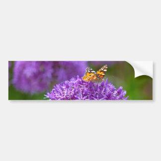 Autocollant De Voiture Papillon sur la fleur d'allium