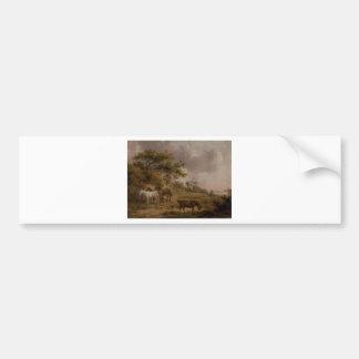 Autocollant De Voiture Paysage avec quatre chevaux par George Morland