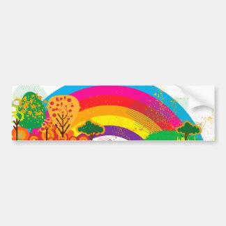 Autocollant De Voiture Paysage coloré vif d'arc-en-ciel