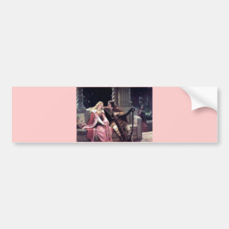 Autocollant De Voiture Peinture romantique de femme d'homme d'harpe de