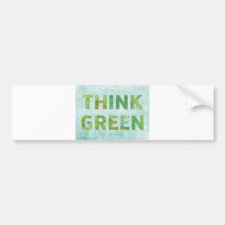 Autocollant De Voiture Pensez la citation heureuse de conscience verte