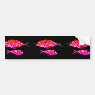 Autocollant De Voiture Rose et poissons psychédéliques rouges