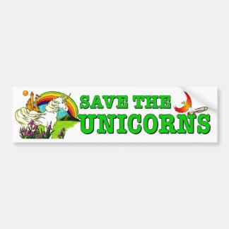 Autocollant De Voiture Sauvez les licornes. Cheval mythique mis en danger