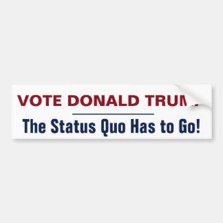 Autocollant De Voiture Statu quo de Donald Trump de vote