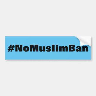 Autocollant De Voiture texte noir #NoMuslimBan et audacieux sur le bleu