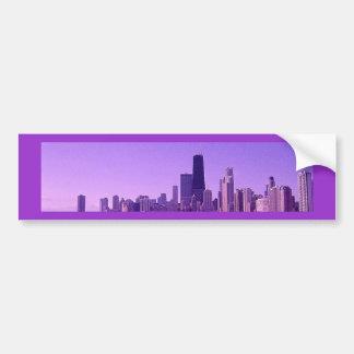 Autocollant De Voiture Tonalités violacées profondes d'horizon de Chicago