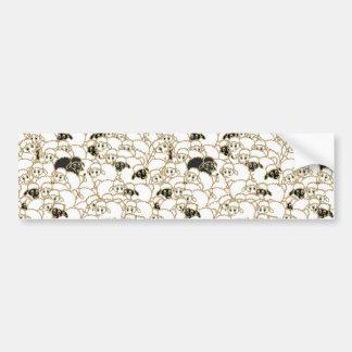 Autocollant De Voiture troupeau de moutons noir et blanc