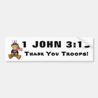 Autocollant De Voiture Troupes de Merci de 3h16 de 1 John ! Avec le