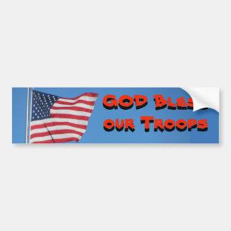 Autocollant De Voiture Un DIEU bénissent nos troupes ! Avec le drapeau