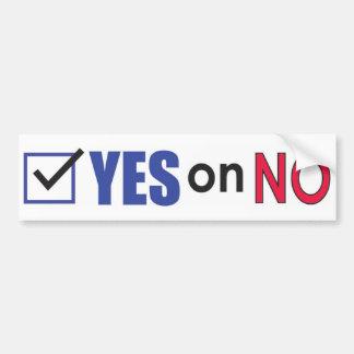 Autocollant De Voiture Vote oui sur aucun adhésif pour pare-chocs