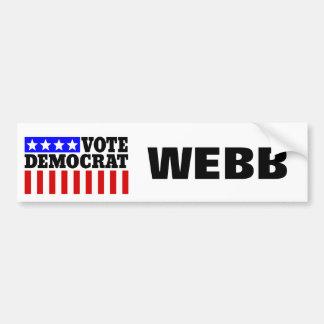 Autocollant De Voiture Vote Webb Démocrate pour le président
