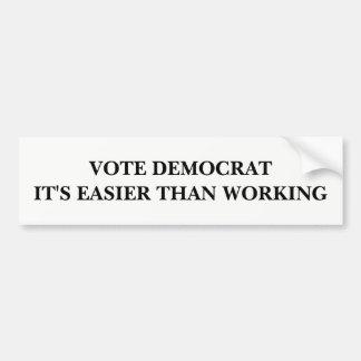 Autocollant De Voiture Votez Démocrate, il est plus facile qu'en