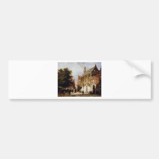 Autocollant De Voiture Vue de ville par Cornelis Springer
