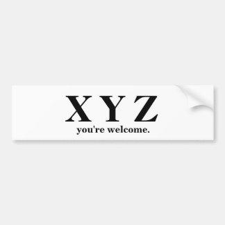 Autocollant De Voiture X, Y, aide de jeu de Z ABC !