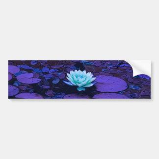 Autocollant De Voiture Zen floral d'étang de turquoise bleue pourpre de