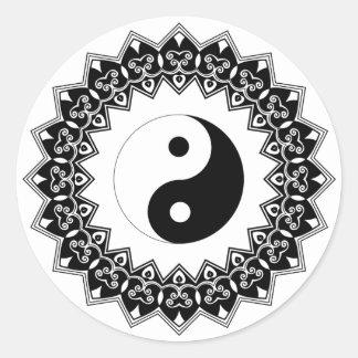 Autocollant de Yin Yang de mandala grand