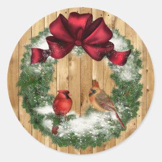 Autocollant d'oiseaux de Noël de pays