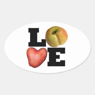 Autocollant d'ovale de pomme de terre de coeur de