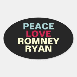 Autocollant d'ovale de Romney Ryan d'amour de paix