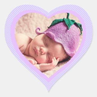 Autocollant en forme de coeur de photo de bébé de