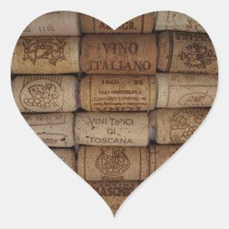 Autocollant en forme de coeur de vin de collection