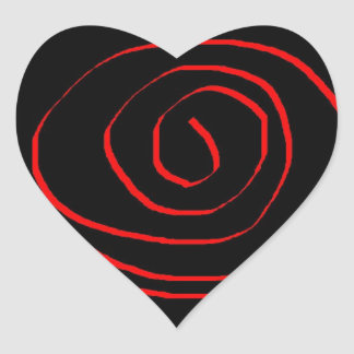 Autocollant en spirale rouge de coeur
