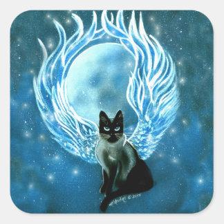 Autocollant féerique de chat de déesse de lune
