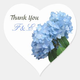 Autocollant floral bleu d'initiales de Merci de
