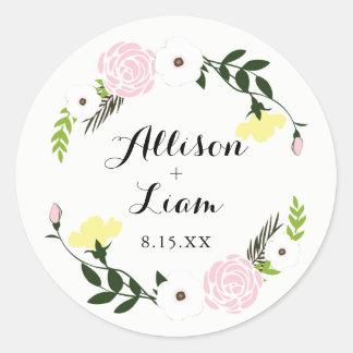 Autocollant floral de mariage de jardin