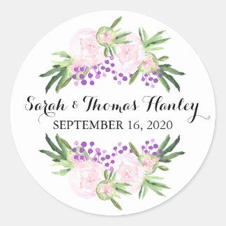 Autocollant floral de mariage des pivoines I rose