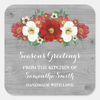 Autocollant floral rouge en bois gris de cuisson