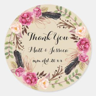 Autocollant floral rustique de Merci de mariage de