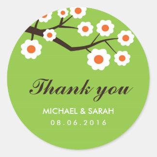 Autocollant floral vert de Merci de faveur de