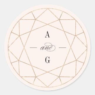 Autocollant géométrique de mariage de monogramme