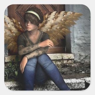 Autocollant gothique d'imaginaire d'ange de fille