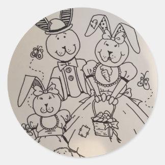 Autocollant heureux de famille de lapin