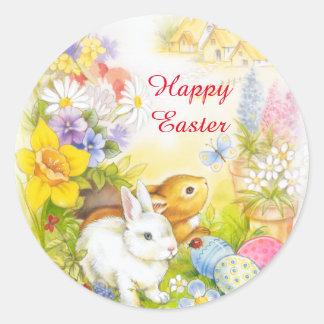 Autocollant heureux de Pâques de lapin de Pâques