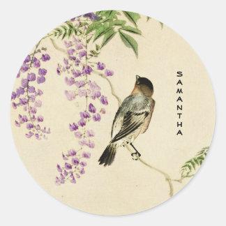 Autocollant lilas vintage japonais de moineau