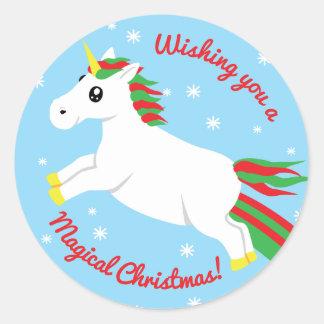 Autocollant magique de licorne de Noël